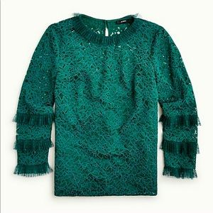 MAKE OFFER J.Crew Lace Top With Tulle Ruffle